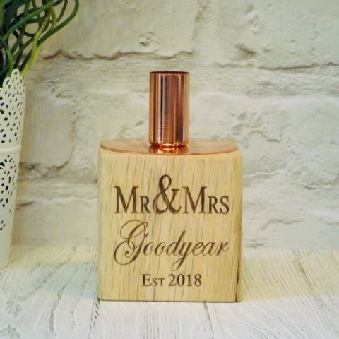 Personalised Mr & Mrs Wedding Candle Holder English Oak Wood, Copper